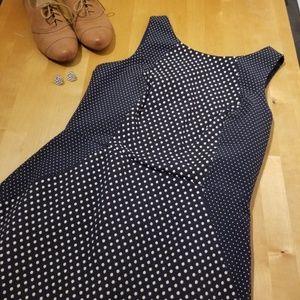 NWOT BR navy dots sheath dress